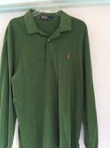 VTG Ralph Lauren Green L/S -Red Pony Polo Shirt Sz XL made in USA - $23.36