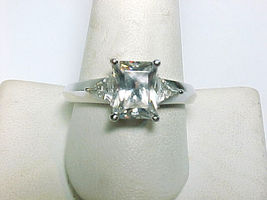 Cubic Zirconia Vintage COCKTAIL RING in Sterling Silver - Size 10 - $45.00