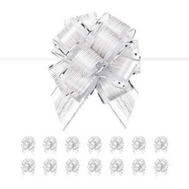 PACKQUEEN 15 Large Silver Gift Bows, 6 inches, Ribbon Pull Bows for Gift Wrappin