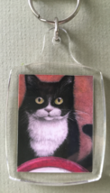 Small Cat Art Keychain - Suppertime - $6.00