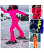 Neon Winter Ski Suit Overall Jumpsuit Pink Green Yellow Orange Red Snows... - $249.00