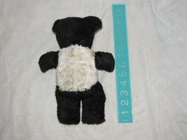 Vintage Stuffed Plush Teddy Bear Black White Panda Plaid Ears image 3