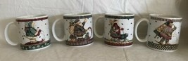4 Sakura Debbie Mumm Christmas Mugs Sledding Characters Ceramic Holiday ... - $21.77