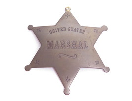 HUGE VINTAGE TARNISHED BRASS UNITED STATES MARSHALL STAR NECKLACE PENDAN... - $22.76