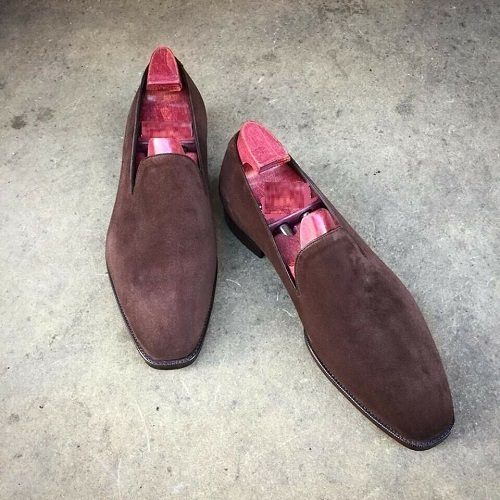 Handmade Men's Chocolate Brown Slip Ons Loafer Suede Shoes