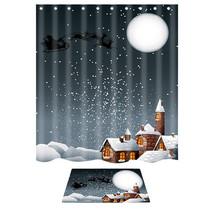 Santa Claus Shower Curtain Merry Christmas  Pattern Waterproof Bathroom Shower C - $37.06