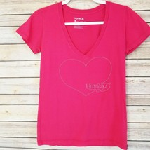 HURLEY Women's Red V-Neck Short Sleeve Spellout Heart T-Shirt Tee Size M... - $13.97