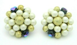 Japan Faux Pearl Gold Blue Bead Beaded Clip-On Earrings Vintage Gold Tone - $13.86
