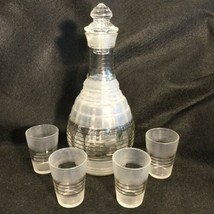Hazel Atlas Liquer Decanter Set With 4 Appertif Shot Glasses Deco Froste... - $84.15