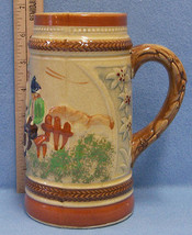 Vintage German Style Beer Stein Rich Earth Tones Villagers Handle Made i... - $10.34