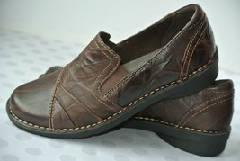 Clarks Bendables Womens Sz 7 M Brown Leather Comfort Slip On Flats NICE!! - $23.75