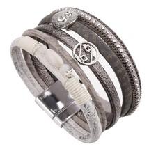 ALLYES Multilayer Bracelets For Women Femme Crystal Vintage Wide Alloy Charm Lea - $13.67
