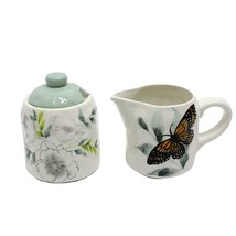 Butterfly Design Ceramic Cream and Sugar Pot w Lid