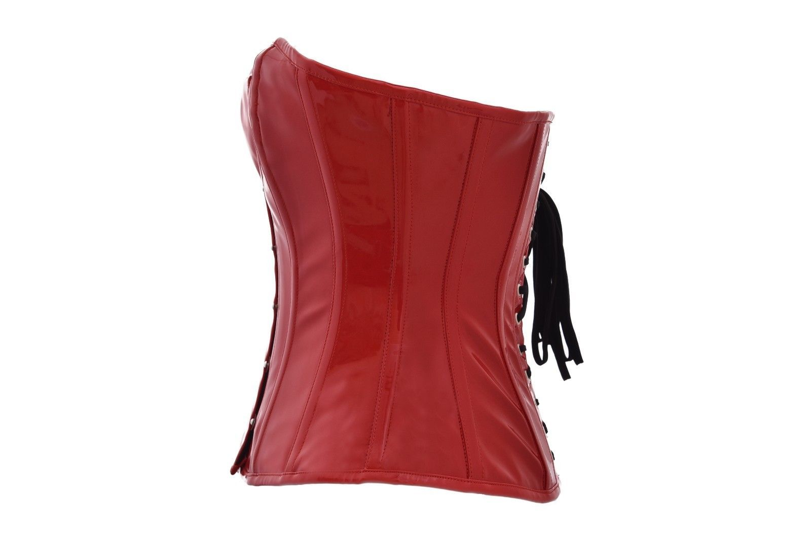 Red PVC Faux Leather Gothic Steampunk Bustier Waist Training Overbust Corset image 2