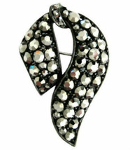 Vintage Weiss Hematite Rhinestone Japanned Bow Brooch Pin - $85.00
