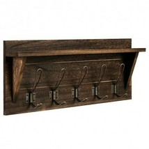 Rustic Wooden Wall-Mounted Entryway Hanging Shelf-Brown - Color: Brown - $66.54