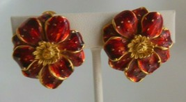 Vintage Signed Erwin Pearl Gold-tone Red enamel Flower Clip-on Earrings - $54.45