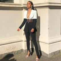 Famous Runway Designer Black and White Contrasted 2 Piece Pant Suit image 6