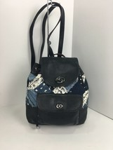 Coach Backpack Mini Canyon Quilted Denim Fabric Leather Turnlock  37743 ... - $128.69