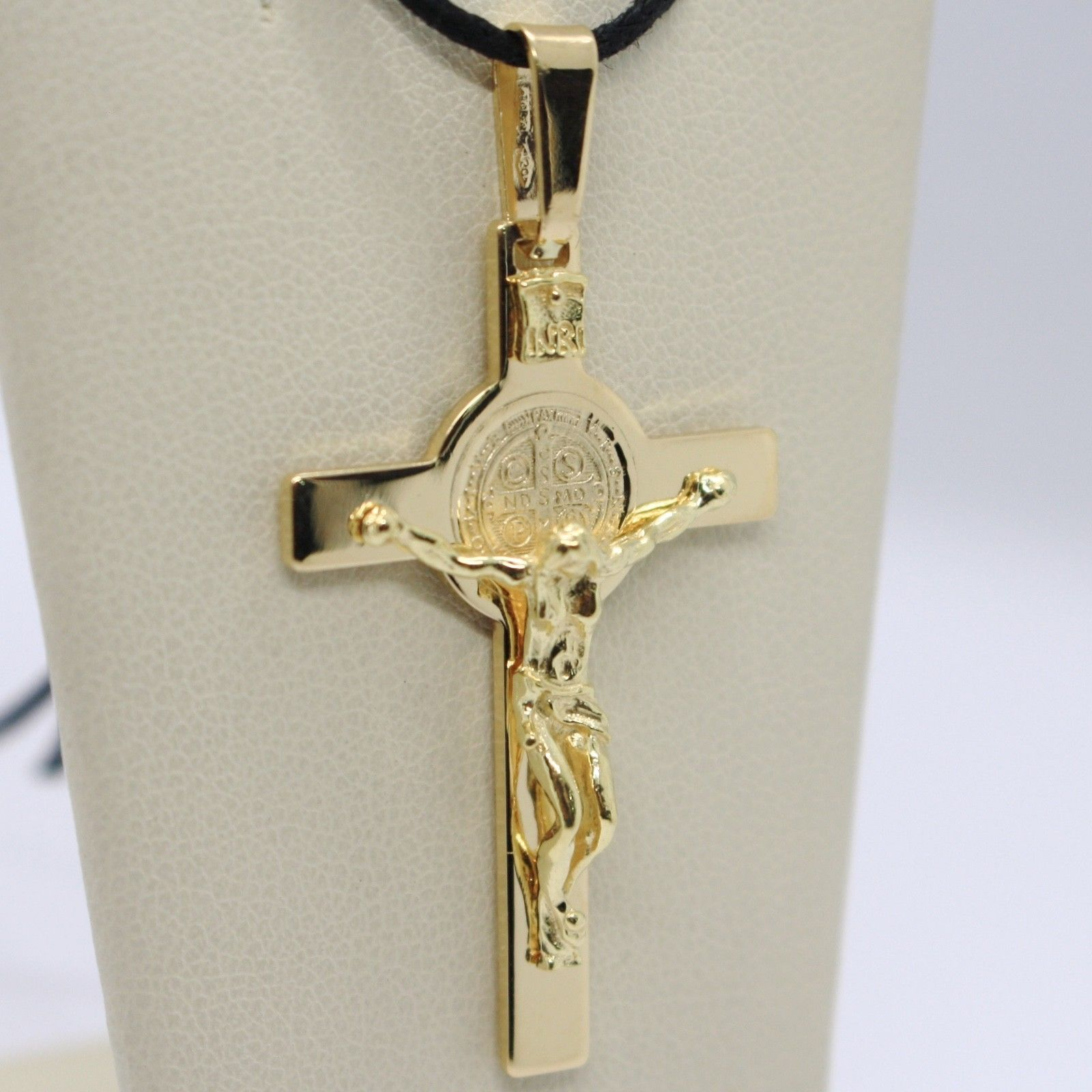 18K YELLOW GOLD BIG CROSS WITH JESUS & SAINT BENEDICT MEDAL MADE IN ITALY, 44 mm