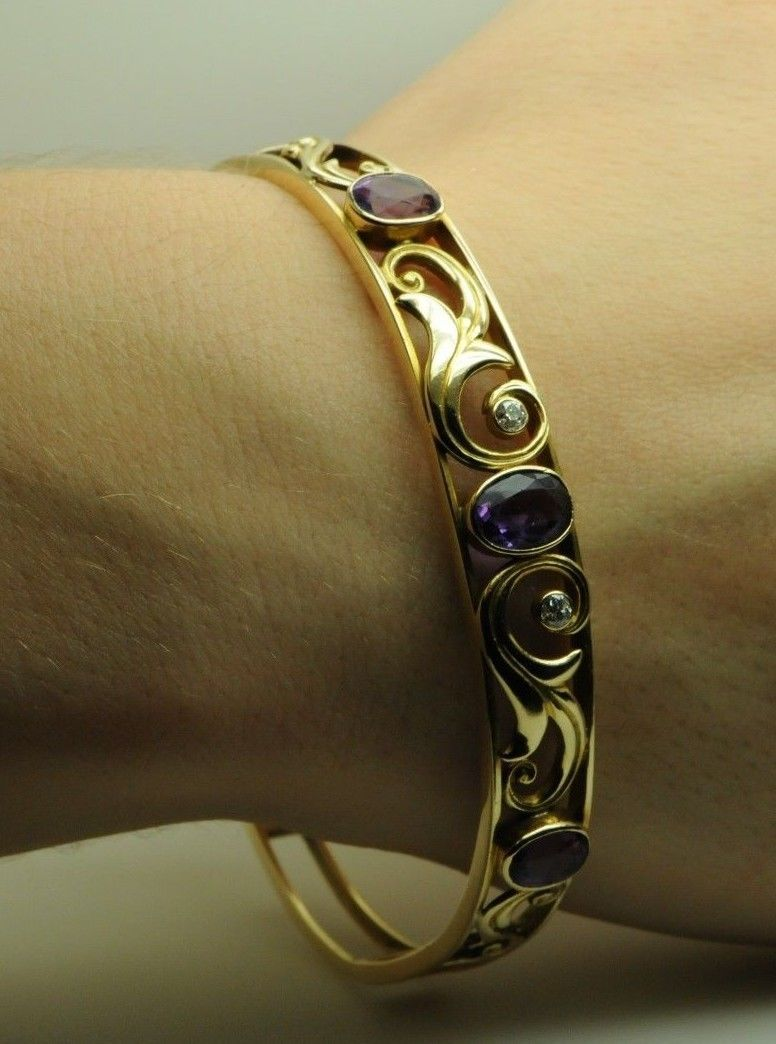 "Art Nouveau, 14K Yellow Gold, Amethyst and Diamond Bracelet (7 1/4"")"