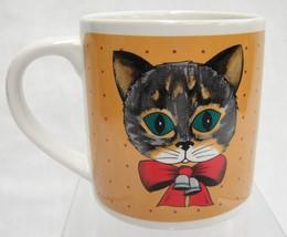 Zak Designs Cute Gray Cat Mug 1985 Orange w Red Dots Bell and Bow - $14.30
