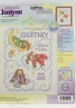 Janlynn Heaven Sent Birth Announcement Bunnies Counted Cross Stitch Kit Baby NIP - $12.87