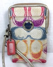 Coach Small Fabric Multi Color Signature Wristlet Pouch - $24.24