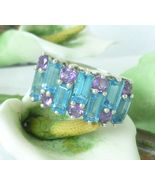 3 ct tw Sterling Blue Topaz and Amethyst Band Ring - $69.00