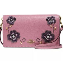 NWT COACH LEATHER SEQUIN EMBELLISHED FOLDOVER CROSSBODY CLUTCH 31837 ROS... - $159.28 CAD