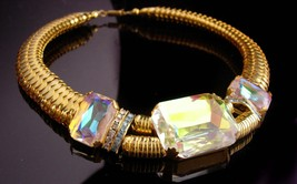 HUGE Zoe Coste necklace - rhinestone collar - gold statement necklace -l... - $345.00