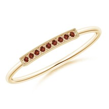 Angara Jewelry Natural Garnet Bar Ring with Milgrain in Silver/Gold Size... - $126.42+