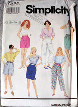 Vintage Simplicity 7295 Sewing Pattern Shorts Skirts Pants Size A PT-XL ... - $12.00