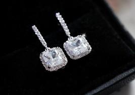 Luxury 18K white gold filled princess pink Swarovski crystal hoop earring - $9.80