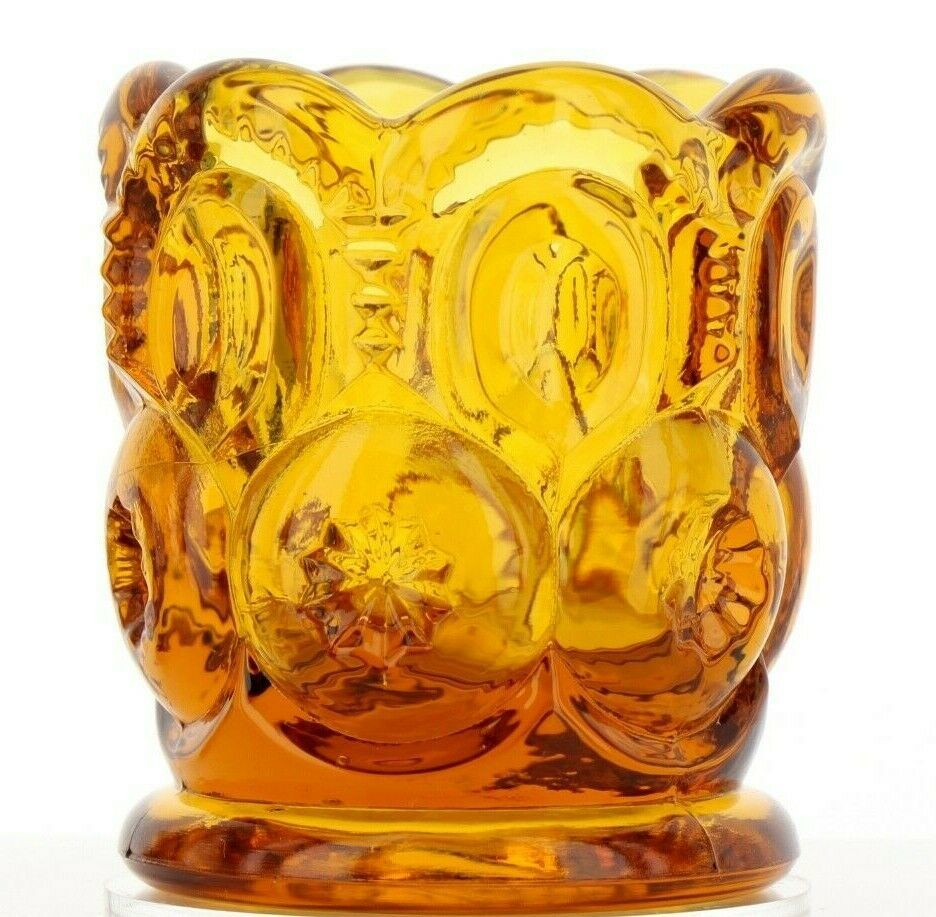 Vintage Glass Toothpick Holder Moon & Stars Amber