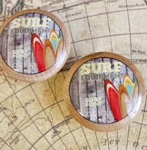 "4 Handmade SURF Knobs, 1.5"" Beach Knobs, Retro Wood Style Surfing Knobs - $19.80"