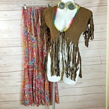 Halloween Costume Hippie Tie-Dye Pants Fringed Vest & sunglasses Junior ... - $16.82