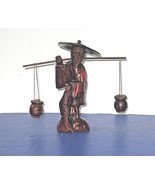 Asian Solid Wood Statue Man with Fish And Basket Hand Carved - $29.99