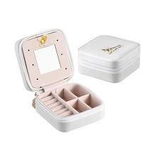 Double Layers Leather Jewelry Casket Bag Necklace Earrings Ring Storage ... - $26.39 CAD