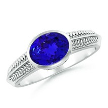 Vintage Inspired Bezel-Set 1.1ct Oval Tanzanite Ring with Grooves Gold/P... - $1,295.66+