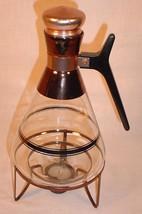 VTG MID CENTURY MODERN BEAKER STYLE COFFEE WARMER CARAFE W/ LID & WARMER... - $25.73