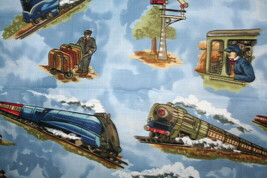 TRAINS FROM MICHAEL MILLER - 100% COTTON FABRIC - $7.91