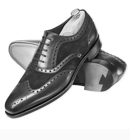 Handmade Men's Black Wing Tip Brogue Style Leather And Suede Oxford Shoes