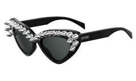 MOSCHINO Womens Cat Eye Sunglasses MOS030/S Polished Black Frame W/ Dark... - $87.47