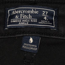 Abercrombie & Fitch Women's Black Distressed Simone High Rise Ankle Jeans 27 4L image 3