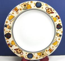 "Sakura Teapots 10 7/8"" Dinner Plate/s Debbie Mumm Blue Gold Mulit Color 1998 - $9.89"