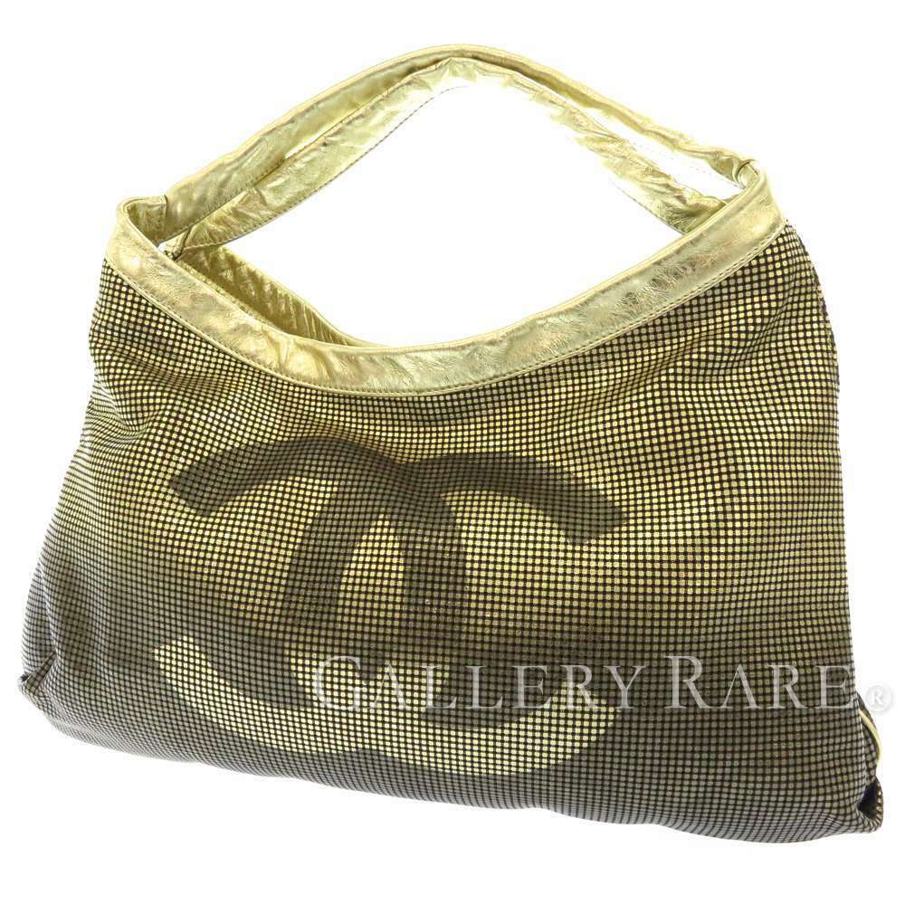 CHANEL Tote Bag Leather Gold Gradation A36906 CC Logo Italy Authentic