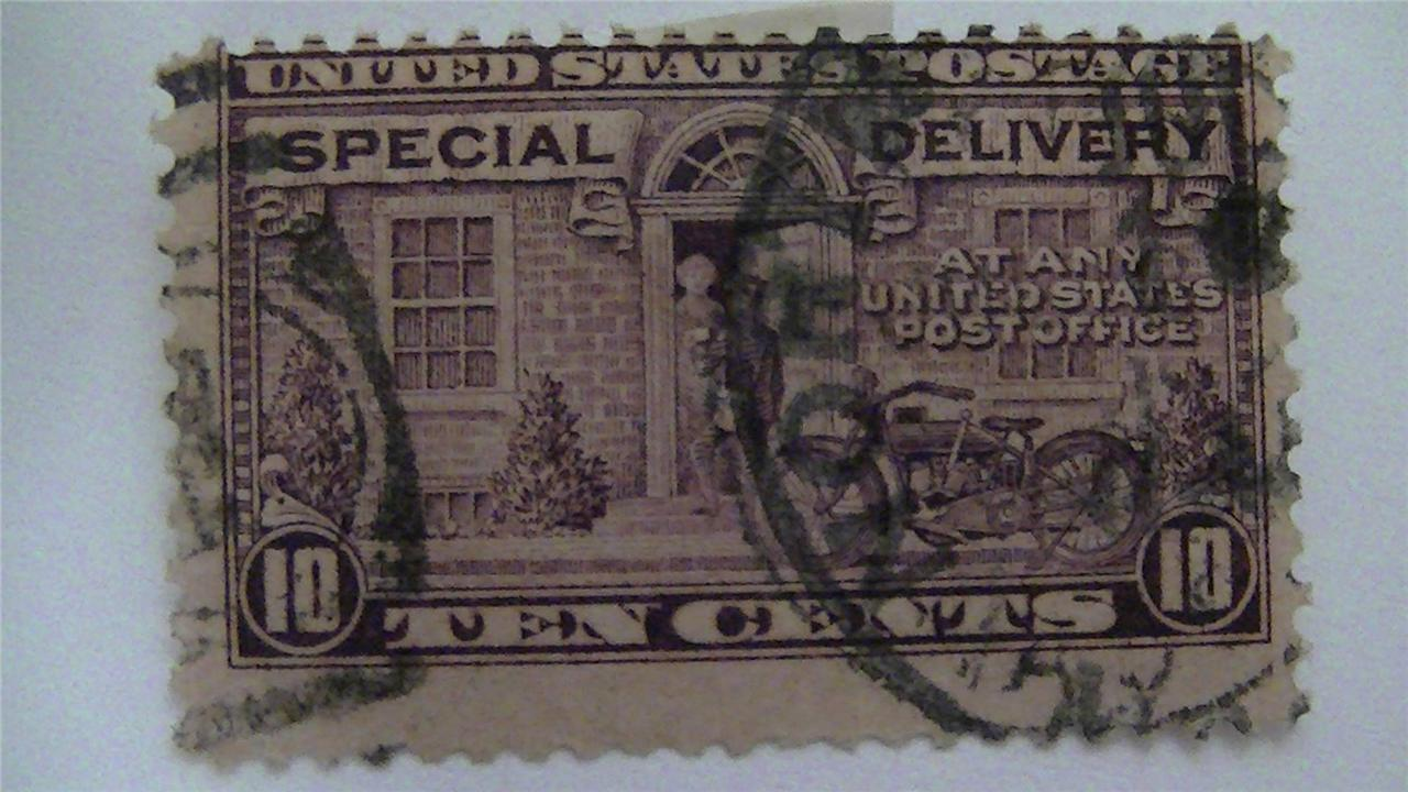 Special Delivery Postman And Motorcycle Purple Vintage USA Used 10 Cent Stamp