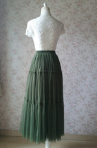 ARMY GREEN Layered Long Tulle Skirt Wedding Bridesmaid Tulle Skirt Plus Size image 7