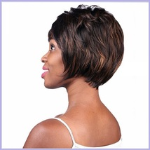 Black Brown Short Straight Hair with Long Bangs Pixie Style Cut Full Lace Wig image 2